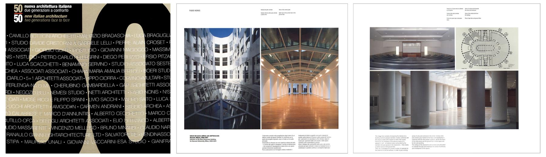 """""""50, nuova architettura italiana, due generazioni a confronto"""" Federico Motta Editore, 2002"""