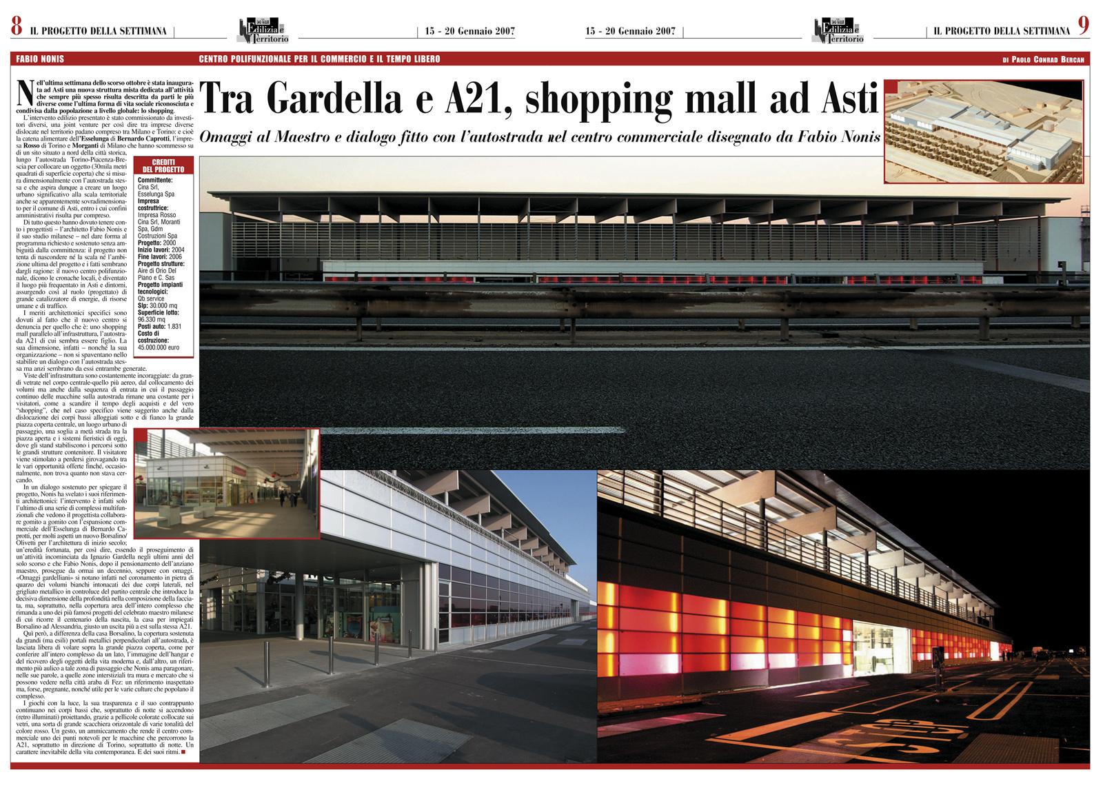 """Edilizia & Territorio, supplemento a """"Il Sole 24 Ore"""", gennaio 2007"""