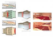 Schema di suddivisione dell'aula magna con palcoscenico mobile