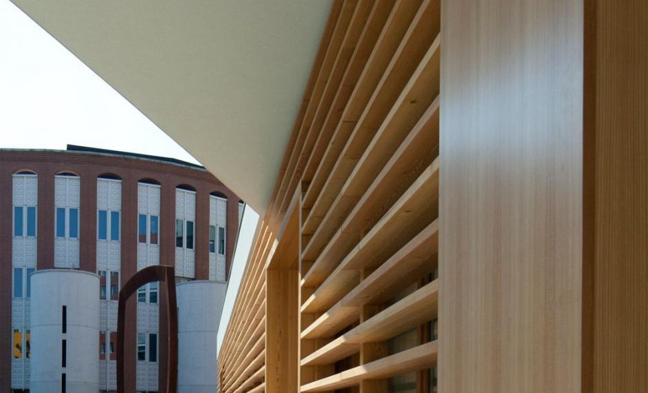 Dettaglio di facciata della sala conferenze