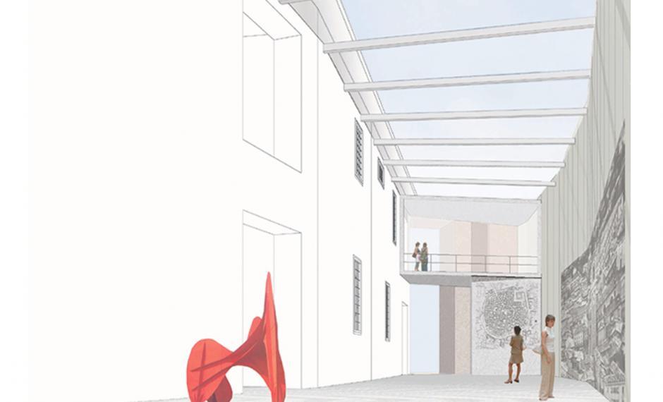 Vista del percorso espositivo, planimetria, sezione del museo