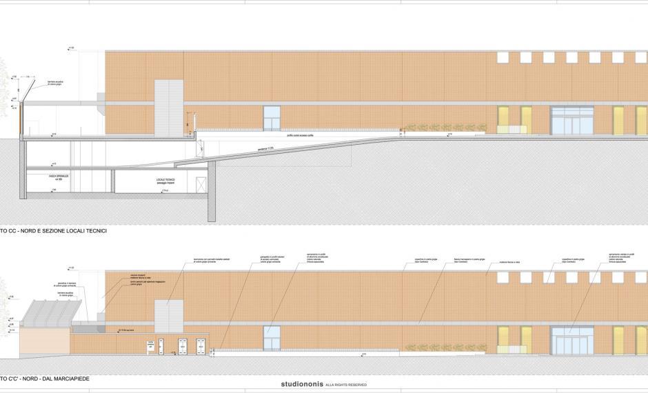 Edificio commerciale | Prospetto nord e sezione