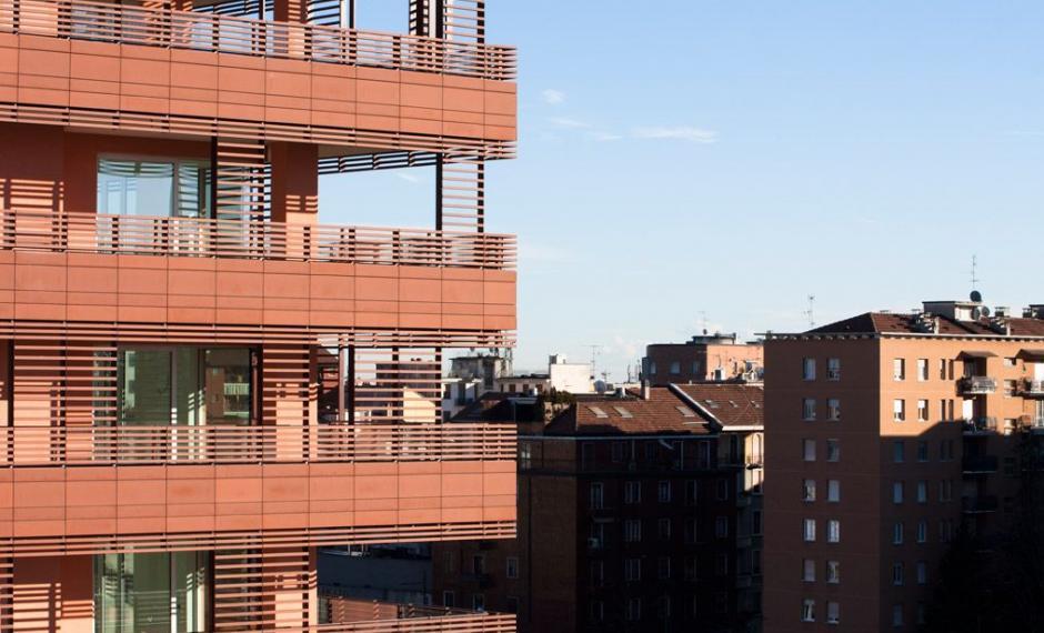 """Particolare facciata edificio """"B"""" residenze"""