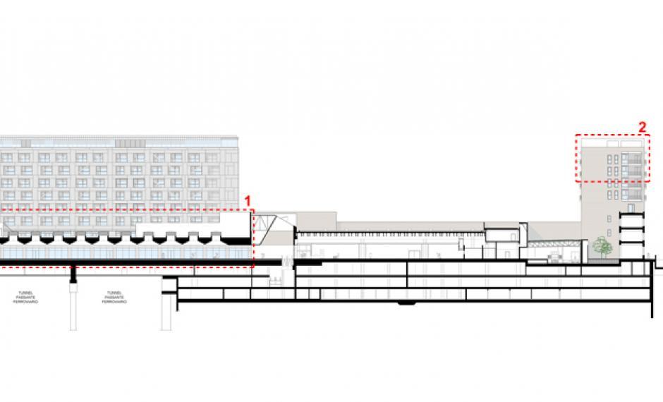 Sezione longitudinale sulla galleria commerciale