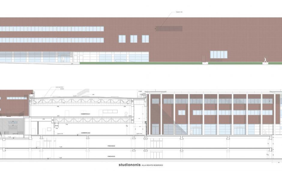 Edificio commerciale | Prospetto nord e sezione BB
